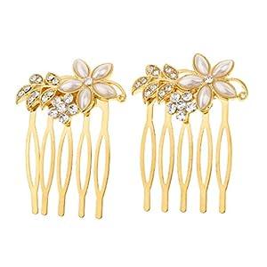 Homyl Vintage Haarkamm Perlenblumen Haarspange Kristall Haargesteck Glänzendes Kopfschmuck Haardekoration, Perfekt Passt an Jede Haarstyling und Abendkleid