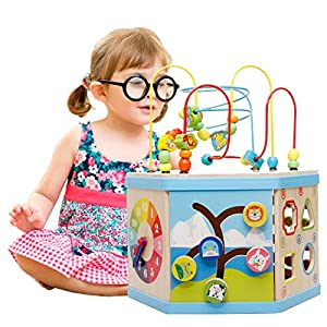 Lewo Large 8 in 1 Bead Maze Cube First Toddlers Learning Toy Wooden Activity Center Educational Toys for Babys Kids