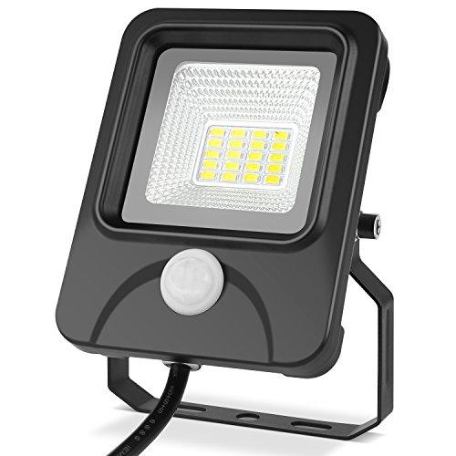 DECKEY LED Fluter mit Bewegungsmelder 10W LED Strahler Aussen 1000 Lumen, 6000k tageslichtweiß und Wasserdicht IP66 als Außenstrahler und Innenstrahler