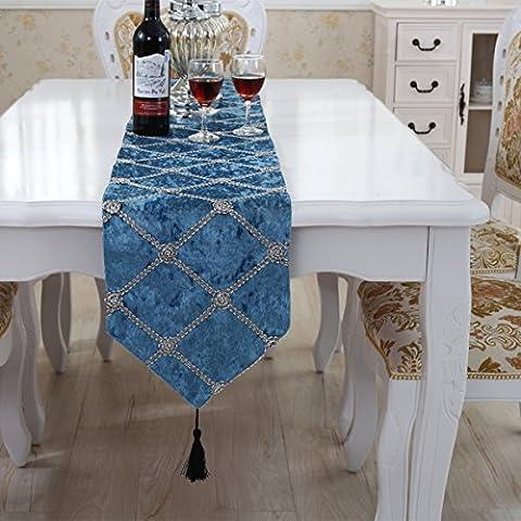 Luxe vérifié chemin de table tassel décoration bleu 180 cm