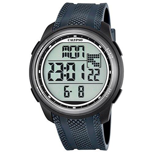 Calypso reloj de pulsera de hombre deportivo Digital correa de PU Gris de cuarzo esfera negra uk5704/6