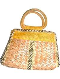 Innovative Handcrafts Women's Handmade Jute Cane Bag (Multi-Colour)