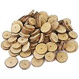 OULII 1.5 Troncos de madera de-3CM rodajas de discos para BRICOLAJE manualidades boda centros de mesa, paquete de 100
