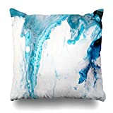 quanzhouxuhuixiefu Decorativepillows Case Throw Pillows Covers for Couch/Bed 18 x 18 inch,Blue Aquatic Abstract Hand Fluid Painting Canvas Home Sofa Cushion Cover Pillowcase Gift Bed Car Living Home