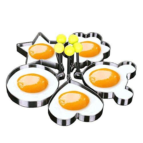 Makidar 5PCS Pancake Cookies Huevo frito molde Huevo tallador de huevo SUS304 acero inoxidable panqueque Herramienta de cocina de molde