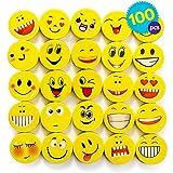 THE TWIDDLERS 100 Emoji & Smiley Kinder kleine Radiergummi Set in 6 verschiedenen Designs - radierer ideal als Partyzubehör für Kindergeburtstag, Partyartikel & Geburtstags-Mitbringsel