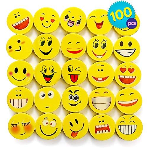 THE TWIDDLERS 100 Emoji & Smiley Kinder kleine Radiergummi Set in 6 verschiedenen Designs | radierer Partyzubehör für Kindergeburtstag, Partyartikel & Geburtstags-Mitbringsel Halloween gastgeschenke