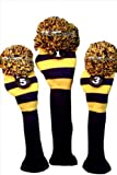 Majek Golf Club Head Covers Traditional Knit Vintage Classic Pom Pom Retro Rugby Driver Fairway Metal Wood Set Oversized Os Headcovers: Blue & Yellow Michigan Colors Fits 460cc Drivers by Majek