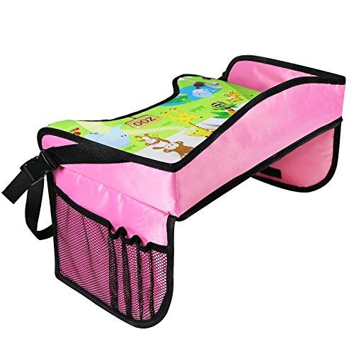 KIPTOP Kinder Auto Knietablett Nette Tierdrucke Sketchpad Multifunktions Reise Tablet Speicher Netzbeutel Esstisch Tablett für Kinder (Knietablett Rosa)