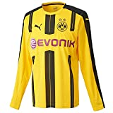 Puma Herren Trikot BVB Long Sleeve Home Replica Shirt with Sponsor Logo, cyber yellow-black, M, 749822 01