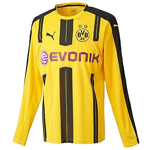 Puma Maillot BVB manches longues Home Replica T-shirt Sponsor Logo, Cyber Yellow/Black, M,