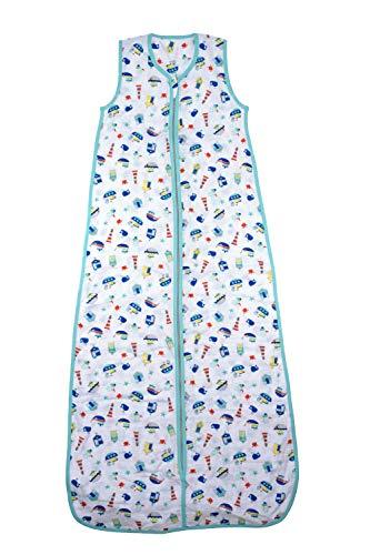 Schlummersack Kinderschlafsack Bambus-Musselin ungefüttert in 0.5 Tog - Boote - 6-10 Jahre / 150cm 150