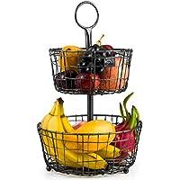 Corbeille de Fruits, panier de Rangement Multifonctionnel de métal de 2 Rangées de Kealive pour le Pain de Stockage,Ffruit, épice, Articles de Ménage et Beaucoup plus, Panier de Pain