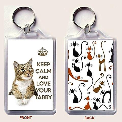 KEEP CALM LOVE YOUR Tabby-Portachiavi con immagini di un simpatico gattino Cat. un compleanno o calza di Natale regalo per amanti dei gatti.
