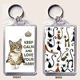 Keep Calm and Love Your gestromt Schlüssel Ring mit einem Bild von einem niedlichen gestromt Cat. Eine einzigartige Geburtstag oder Weihnachten Strumpffüller Geschenk für einen Katzenliebhaber.
