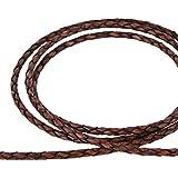 AURORIS - Lederband geflochten - Durchmesser/Farbe/Länge wählbar - Variante: Ø 3mm/antik-braun/1m