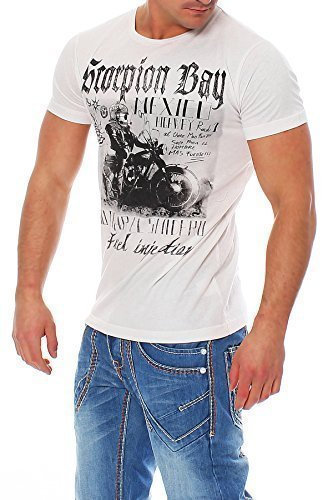 Scorpion Bay uomo maglietta GUADALUPE MTE2921 - cotone, bianco, 100% cotone, Uomo, S