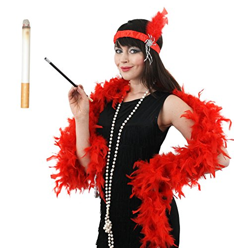 MEGA FANCY DRESS DAMEN KOSTÜM GANGSTER MOLL SET PONY DRESS FEATHER BOA-RED RED STIRNBAND CHARLESTON-LOOK KETTE UND HALTER (Red Boa Feather)