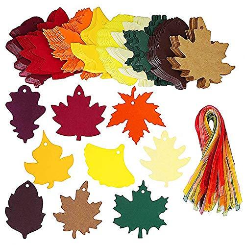 80 Stück Ahornblatt Geschenkanhänger, 9 Stil Kraft Herbstlaub bevorzugen Papieranhänger mit Schnüren, Blatt hängen Papieranhänger Karten für Weihnachten Thanksgiving Holiday Jäten ()