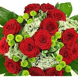 """Großer Blumenstrauß """"Premiumstrauß Romantik"""" mit 15 roten Rosen"""