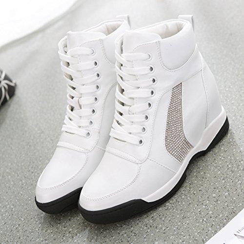 Frühling Saubere Rund Zehen Strass Pailette Schnürsenkel Weiche Versteckte Keilabsatz Sneakers Stiefeln Weiß
