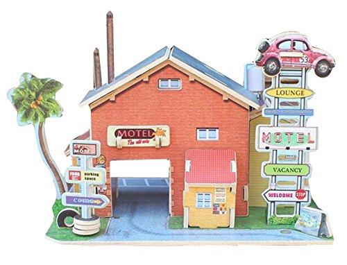 [United States Motel] 3D Puzzle Papiermodell Zusammengebautes Kabinenhaus Spielzeug Diy