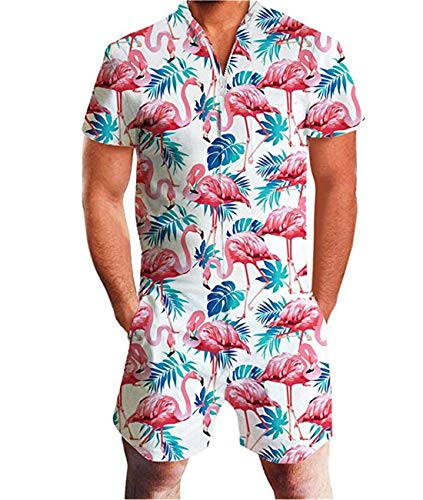 Fanient Herren Jumpsuit One Piece Flamingos Grafik Overalls Sommer Shorts Strand Badehose Cargohosen Strampler Outfits L Overall-shorts-outfit