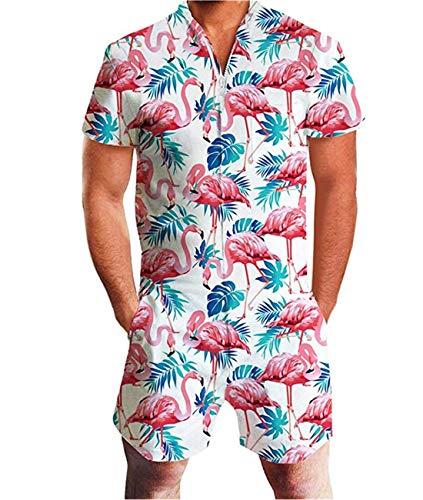 Fanient Herren Jumpsuit One Piece Flamingos Grafik Overalls Sommer Shorts Strand Badehose Cargohosen Strampler Outfits XL
