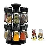 #9: Plastic Revolving Spice Rack Masala Box Set, 120 ml, 16-Pieces, Black Premium Multipurpose Revolving Plastic Spice Rack / Condiment Set -by palak