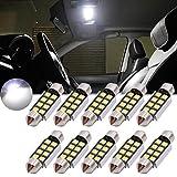 TUINCYN - Bombilla LED blanca de xenón superluminosa con chipsets de aluminio de 1,25 pulgadas (31 mm), CAN bus sin errores, SMD 8 2835 DE3175 DE3021 DE3022 6428 7065, para el interior del coche, puertas, techo, 12 V (10 unidades)