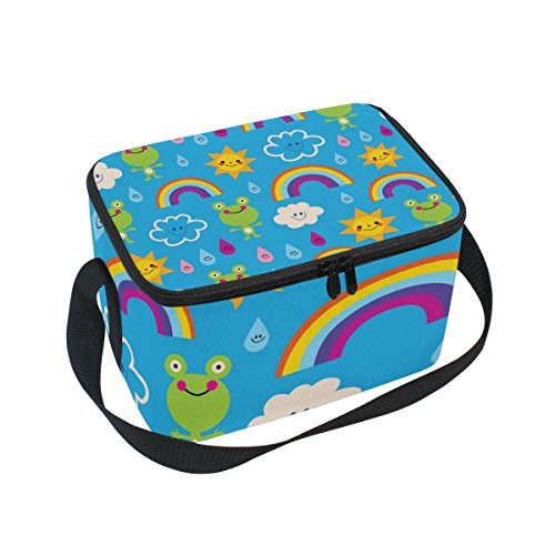 SKYDA Lunchpaket Box Cute Frogs Rain Drops Rainbows Insulated Lunchpaket Bag Large Cooler Tote Bag for Men, Women (Rain Womens Insulated)