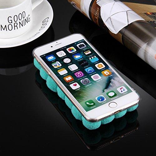 BING Für iPhone 7 Plus 3D Pelz Bälle Muster TPU Schutzhülle BING ( Color : Pink ) Green