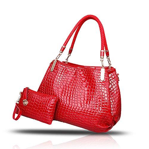 H&S Nuovo Femminile Borse Moda coccodrillo grano Borsa a mano Stile Casual Set di 2 borse Borsa messenger + Portafoglio rosso