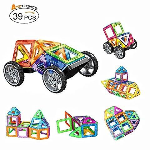 Blocs Construction Magnétiques, AMZtronics® Mini Jeu Construction Cadeau Educatif et Créatif pour Les Enfants Permet à Votre Enfant D'apprendre Les Formes et Les Couleurs en Jouant - 39 Pièces