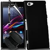 N4U ONLINE Sony Xperia Z1 Compact stark Fall-Abdeckung, Displayschutzfolie, Stylus Pen & Mini wiederaufladbare Lautsprecher - Schwarz