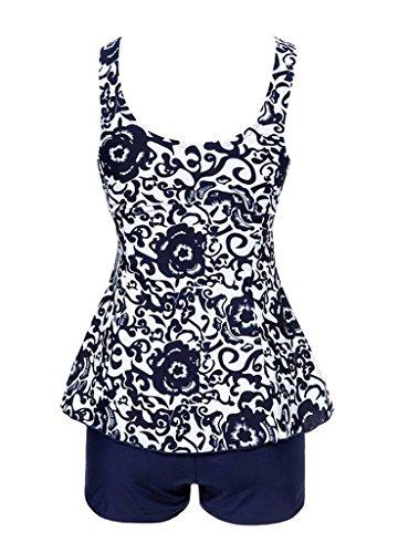 Angcoco Women's 2-Piece Tummy Control Swimsuit Swimdress Tankini Plus Size Navy
