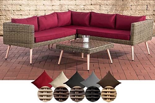 CLP Polyrattan Eck-Loungeset MOLDE I Natura I Gartenlounge Rundrattan I Eck-Sofa + Glastisch I 5mm Rattandicke 40 cm (Hellbraun), rubinrot