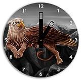 aquila Griffin con le zampe di leone B & W dettaglio, parete di diametro 30 centimetri orologio con le mani nere quadrate e il viso, oggetti di decorazione, Designuhr, composito di alluminio molto bello per il soggiorno, studio