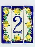 Hausnummern aus Keramik, Hausnummer Zitronen, Dübel Keramik NL 11.Dim: Höhe 15cm, Breite insgesamt 13cm