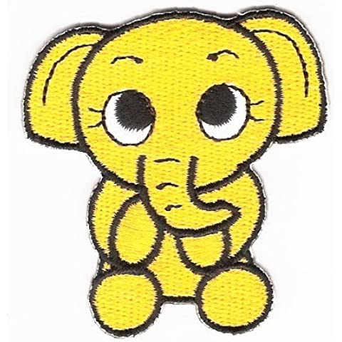 Baby Elephant Iron On Patch Yellow by Galactic Spark