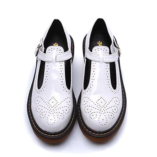 Smilun Damen T Mary Jane Flach Schuhe Klassisch Schnalle Rund Toe Weiß