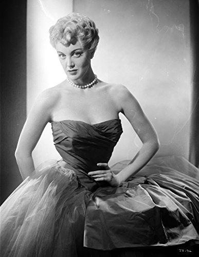 Jan Sterling Portrait in Black Velvet Dress with Sheer Silk Skirt While Hands on The Waist Photo Print (60,96 x 76,20 cm) - Black Velvet Sheer