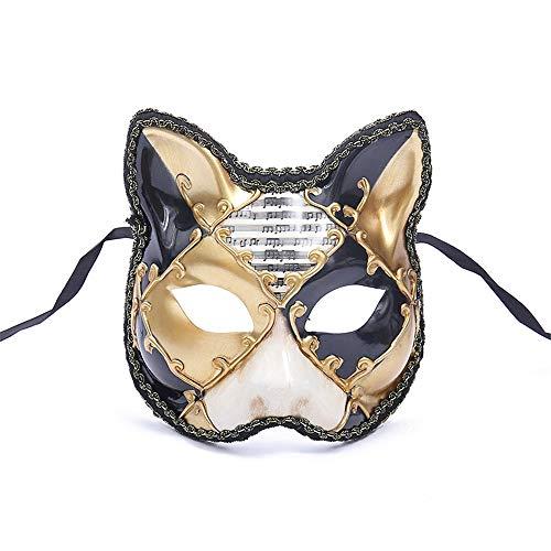 TTXLY Halloween Maske Venedig Big Cat Halbe Gesichtsmaske Animal Party Maske Europa und Amerika Fox Masquerade,Gold