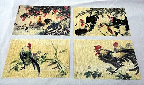 Upper-Placemat impresas láser bambú hendido 12'x18', conjunto de 4 Placemat - Diseño diferente por PC Placemat,polla