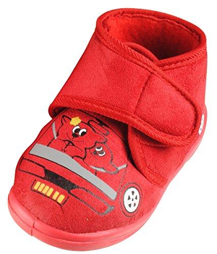 Immerschön Kinder-Hausschuhe in vielen Farben Schlappen Pantoffeln für Mädchen und Jungen rot Teddies im Auto Gr. 26