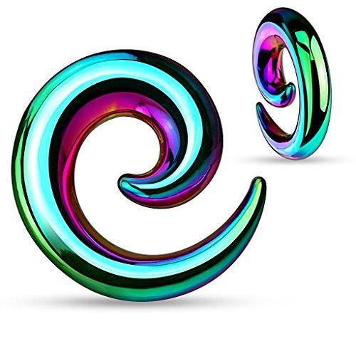 Piercing taper écarteur spirale mirror en acier chirurgical 316L 4GA (5mm) Rainbow