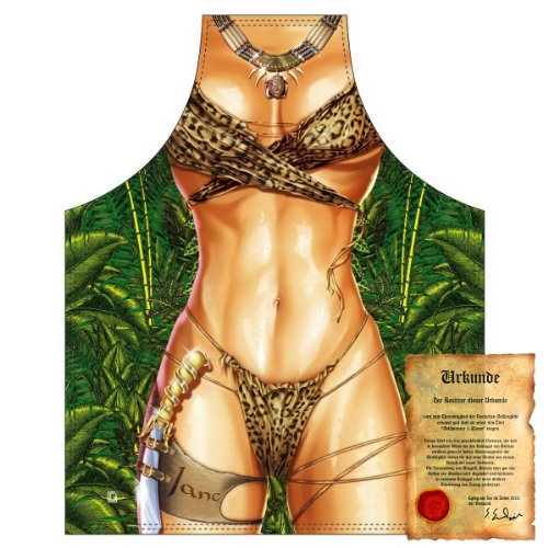 bedruckte Karneval Grillschürze - sexy Motiv: Jane - coole lustige Fasching Party Koch Schürze Latzschürze - Jane Sexy Kostüm