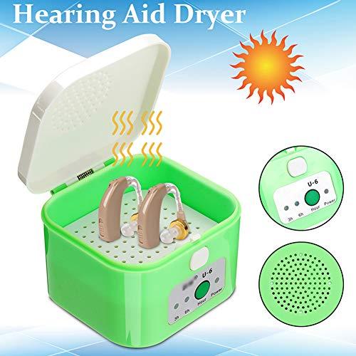 MFZTQ Automatischer Hörgerätetrockner 3-6Stunden Timer Trockner Portable Trockenbox Trocknung Schutzhülle Hard Case