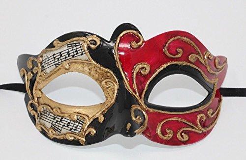 Unbekannt Rot Gold und Schwarz Musikalische Noten Venezianische Maskerade Partei Karneval Maske (Maskerade Und Schwarze Rote Maske)