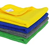 #1: SOBBY Microfiber Car Cleaning Cloth Set Of 4 For Detailing & Polishing 40 Cm X 40 Cm, Muticolor